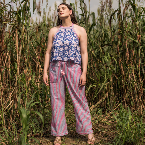 Front View of a Model wearing Block Printed Floral Top and Striped Pant Set