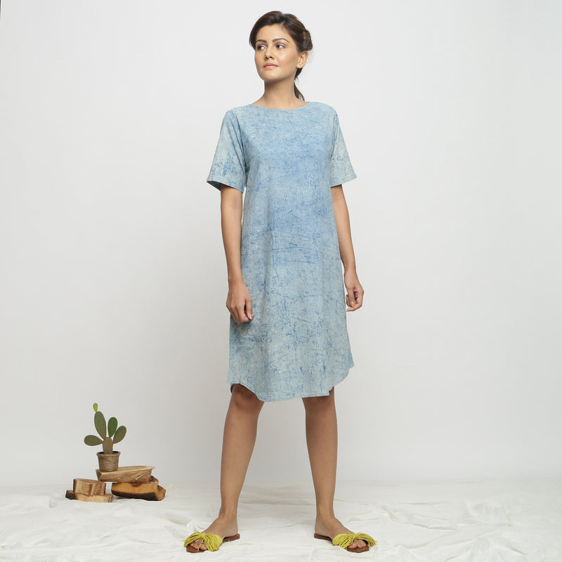 Front View of a Model wearing Blue Dabu Print Hand Embroidered Dress