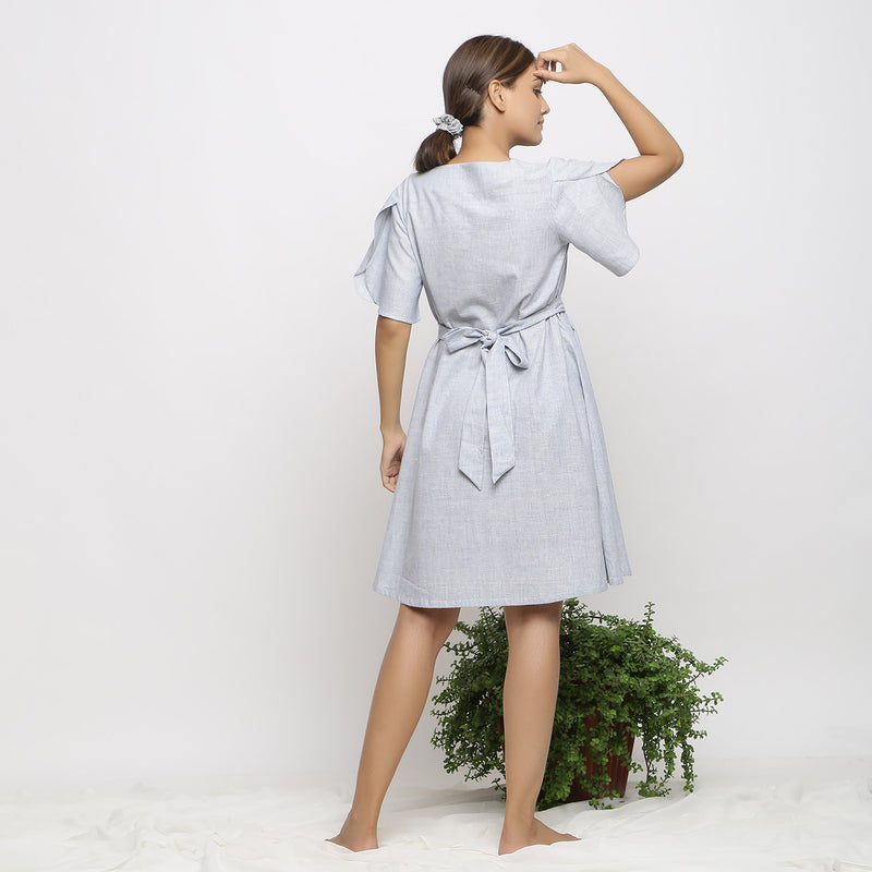 Back View of a Model wearing Blue Handspun Paneled A-Line Dress