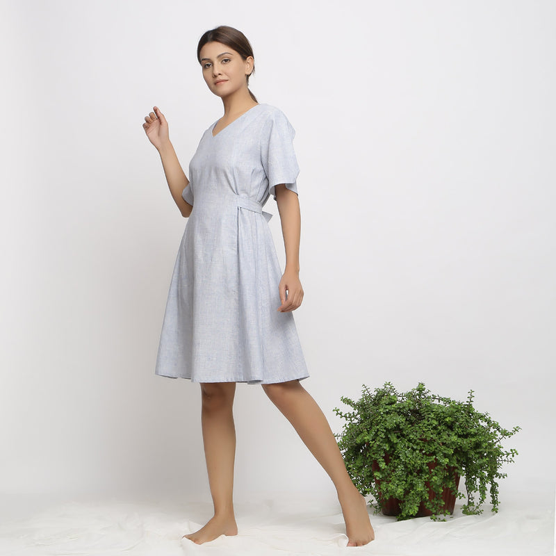 Left View of a Model wearing Blue Handspun Paneled A-Line Dress