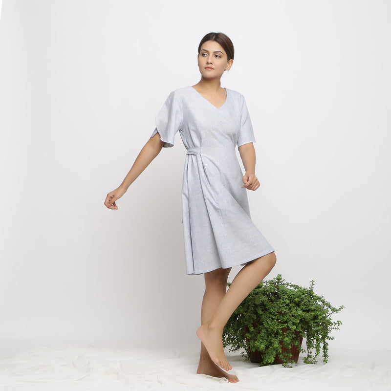 Right View of a Model wearing Blue Handspun Paneled A-Line Dress