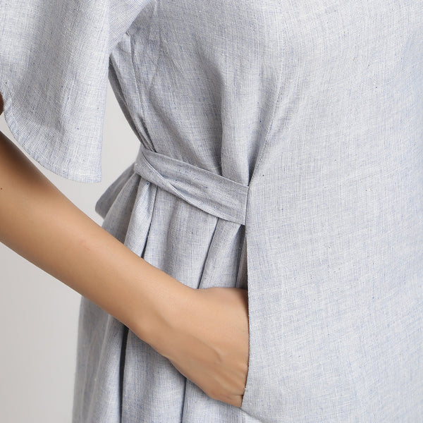 Right Detail of a Model wearing Blue Handspun Paneled A-Line Dress