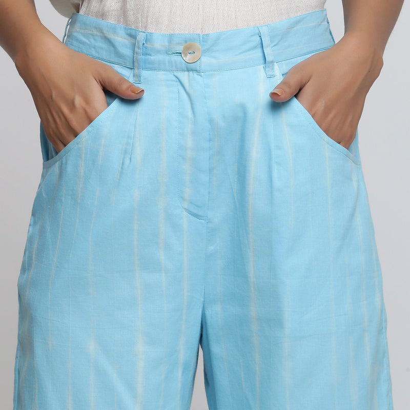 Front Detail of a Model wearing Breezy Blue Tie Dye Wide Legged Pant