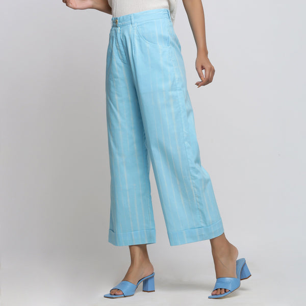 Left View of a Model wearing Breezy Blue Tie And Dye Wide-Legged Pant