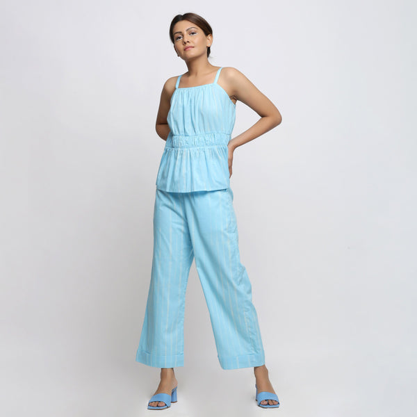 Front View of a Model wearing Breezy Blue Tie Dye Wide Legged Pant