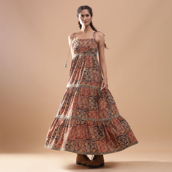 Front View of a Model wearing Bohemian Kalamkari Tiered Cotton Dress