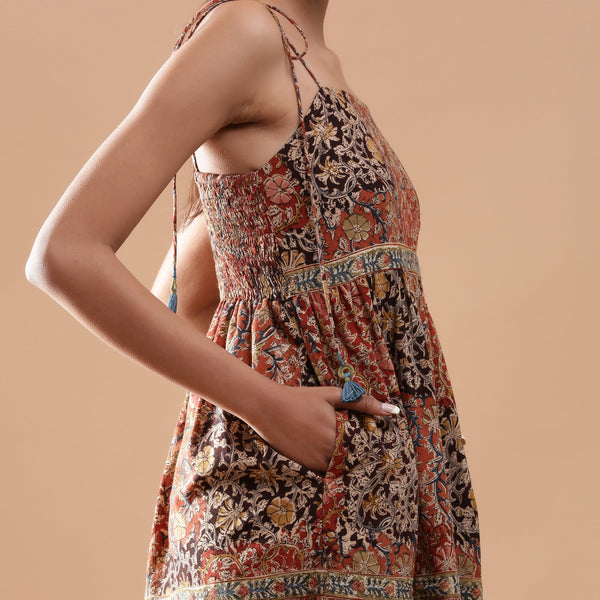 Right Detail of a Model wearing Bohemian Kalamkari Tiered Cotton Dress
