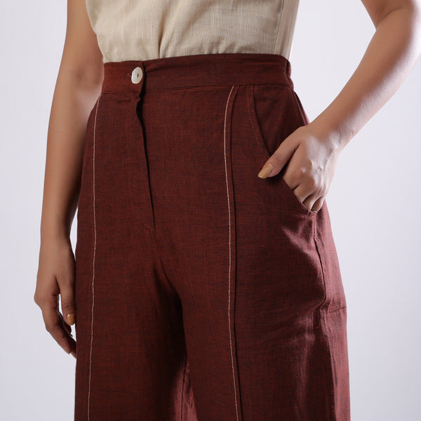 Front Detail of a Model wearing Breezy Brown Straight Pant