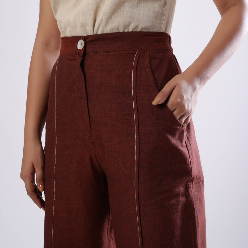 Front Detail of a Model wearing Breezy Brown Straight Fit Cotton Pant