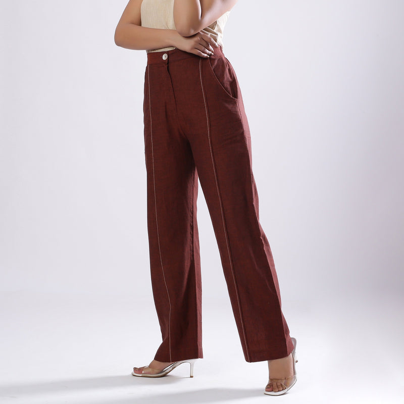 Left View of a Model wearing Breezy Brown Straight Fit Cotton Pant