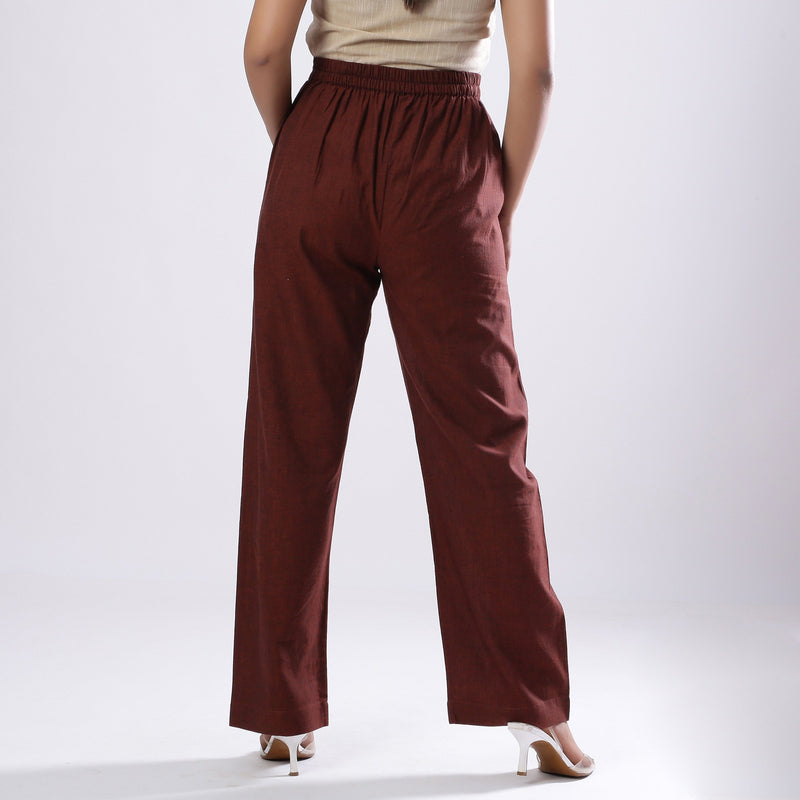 Back View of a Model wearing Breezy Brown Straight Fit Cotton Pant