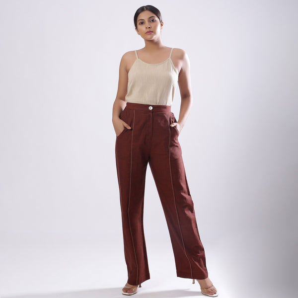 Front View of a Model wearing Breezy Brown Straight Pant