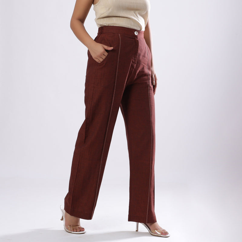 Right View of a Model wearing Breezy Brown Straight Fit Cotton Pant