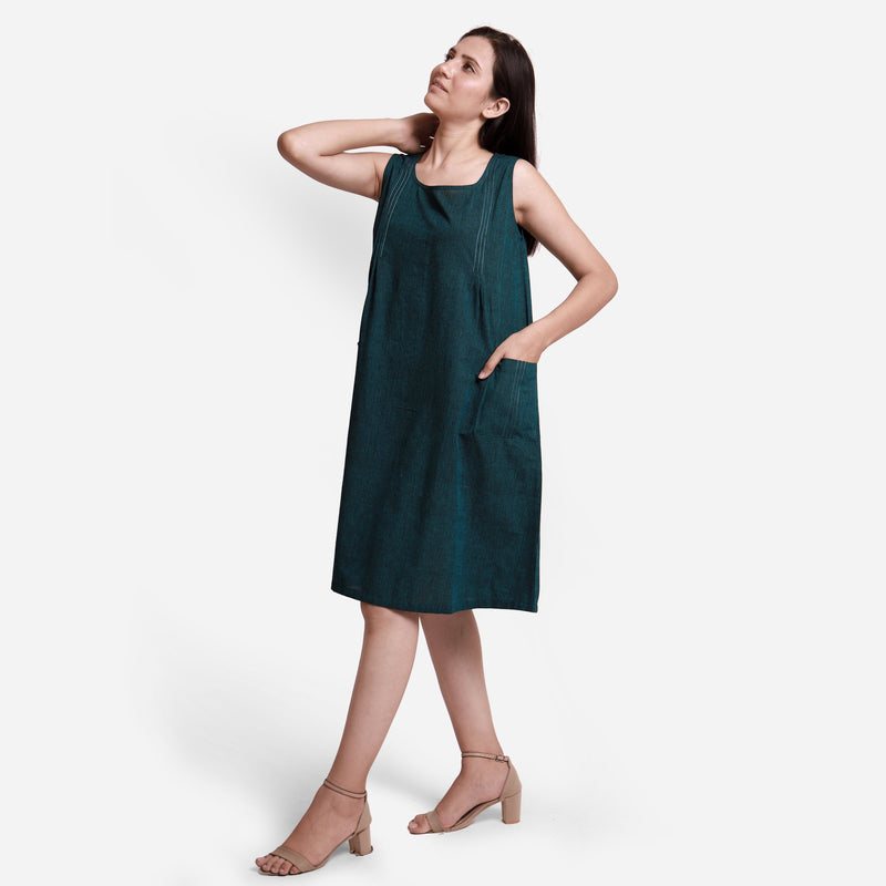 Left View of a Model wearing Breezy Cotton Sleeveless A-Line Dress