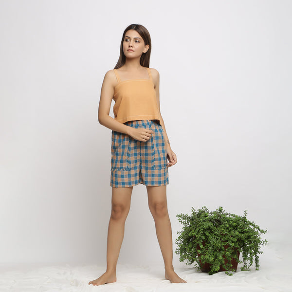 Front View of a Model wearing Breezy Handspun Cotton Checks Shorts