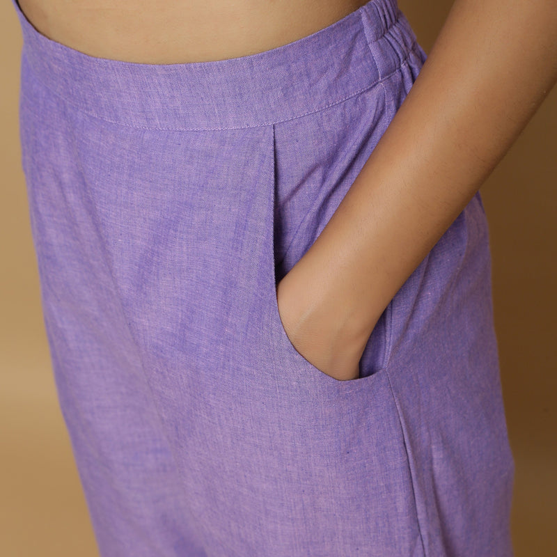 Left Detail of a Model wearing Breezy Lavender Straight Pant