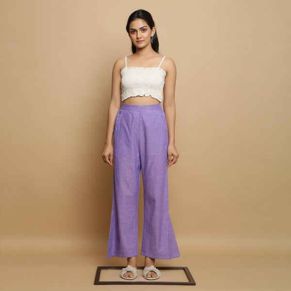 Front View of a Model wearing Lavender Ankle-Length Godet Pant