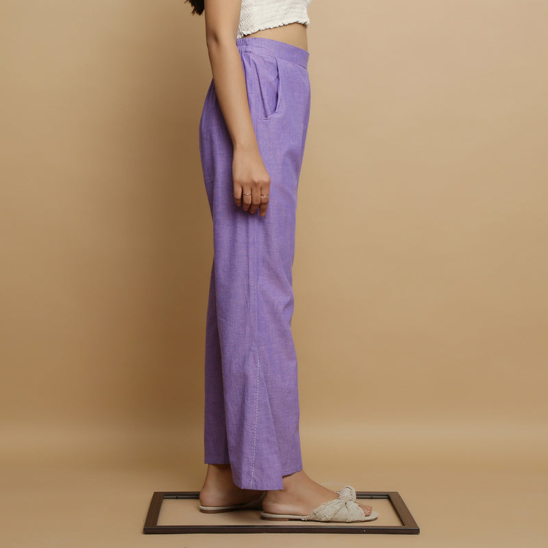 Right View of a Model wearing Breezy Lavender Straight Pant