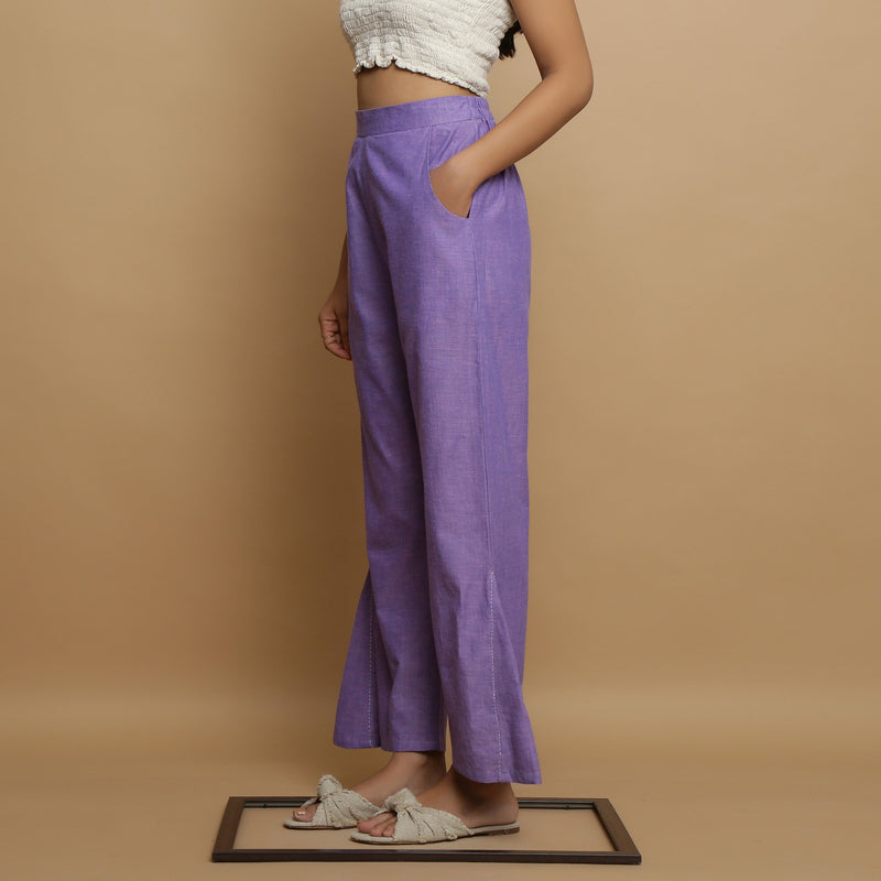 Left View of a Model wearing Breezy Lavender Straight Pant