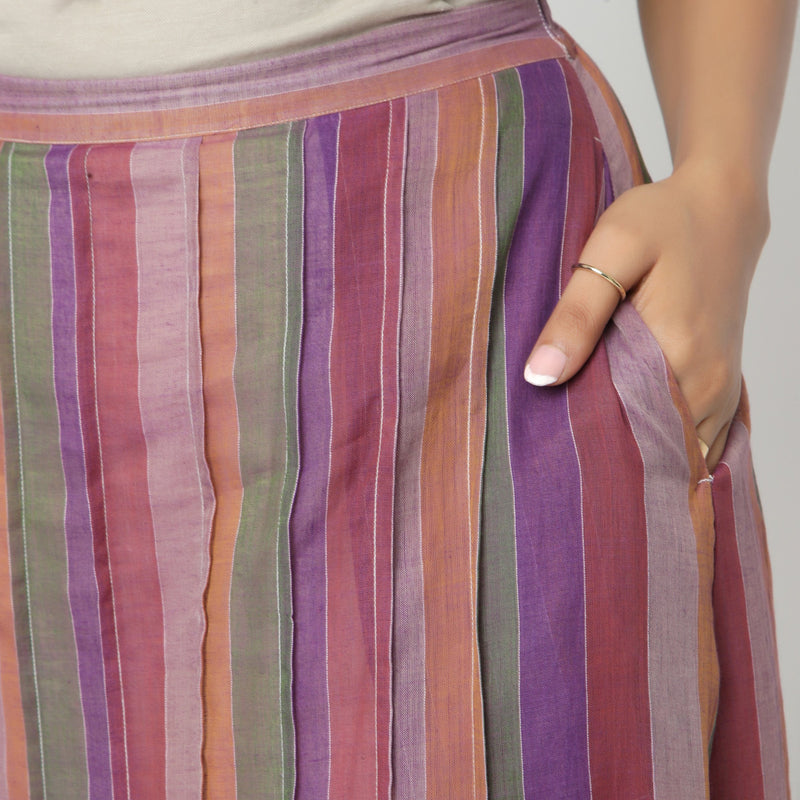 Front Detail of a Model wearing Breezy Multicolor A-Line Skirt