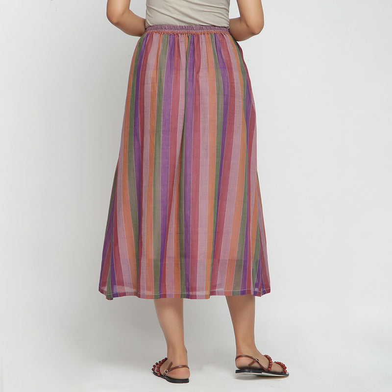 Back View of a Model wearing Breezy Multicolor A-Line Skirt
