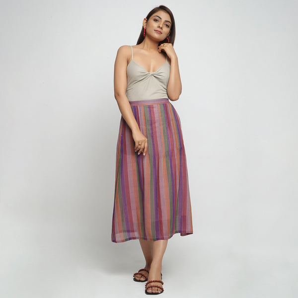 Front View of a Model wearing Breezy Multicolor A-Line Skirt