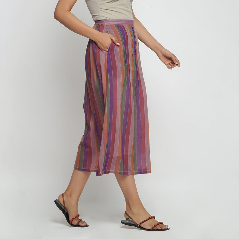 Right View of a Model wearing Breezy Multicolor A-Line Skirt