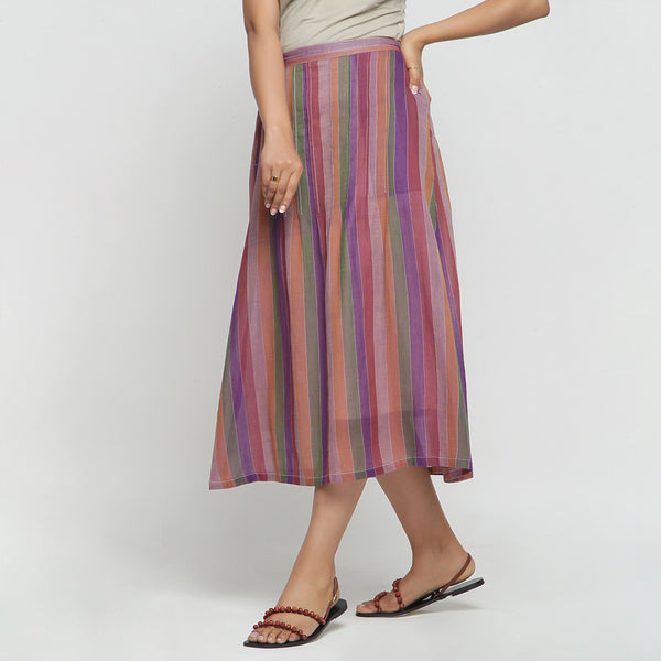 Left View of a Model wearing Breezy Multicolor A-Line Skirt