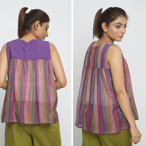 Back View of a Model wearing Breezy Multicolor Reversible Outerwear
