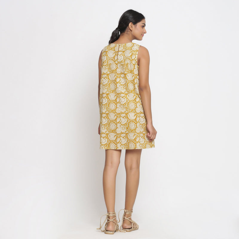 Back View of a Model wearing Bagru Print Mustard Shift Dress