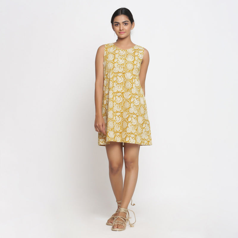 Front View of a Model wearing Bagru Print Mustard Shift Dress
