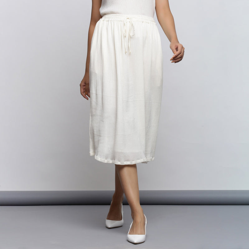Front View of a Model wearing Breezy Off-White Flared Skirt