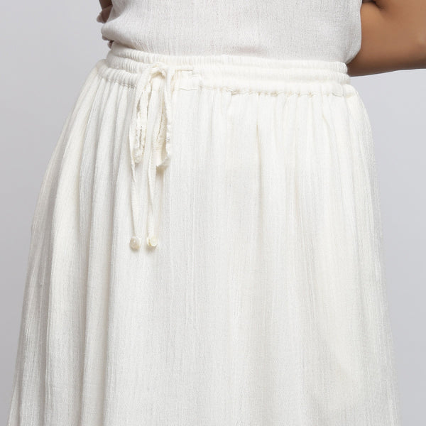 Front Detail of a Model wearing Off-White Crinkled Cotton Flared Skirt