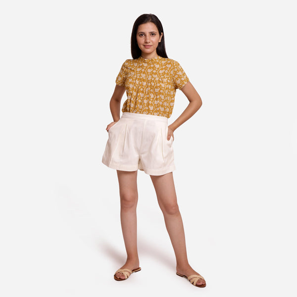 Front View of a Model wearing Breezy Off-White Striped Mid-Rise Shorts