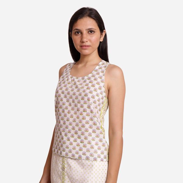 Left View of a Model wearing Block Printed Relaxed Fit Tank Top