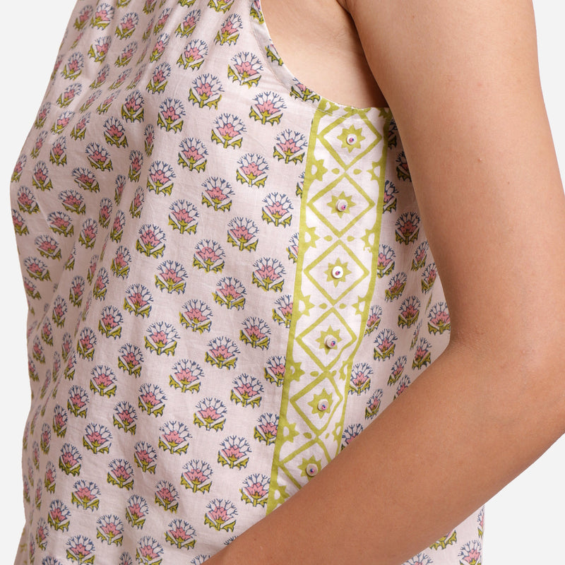 Left Detail of a Model wearing Block Printed Relaxed Fit Tank Top