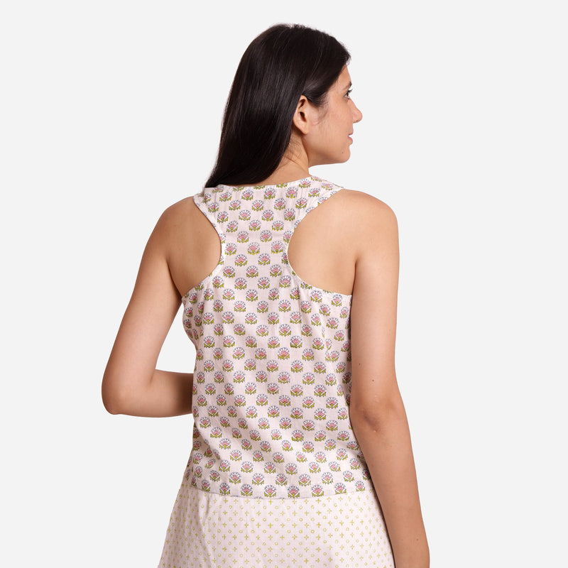 Back View of a Model wearing Block Printed Relaxed Fit Tank Top