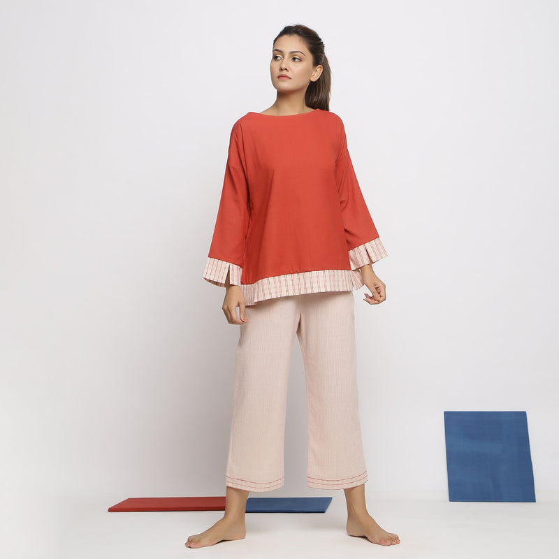 Front View of a Model wearing Brick Red A-Line Shirt and Striped Culottes Set