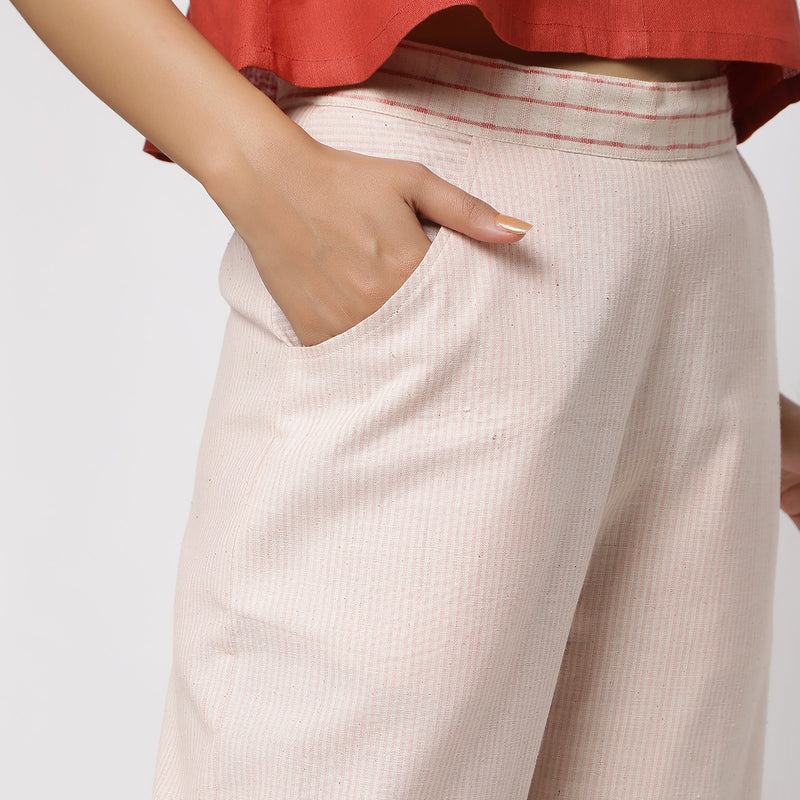 Right Detail of a Model wearing Vegetable Dyed Wide Legged Culottes