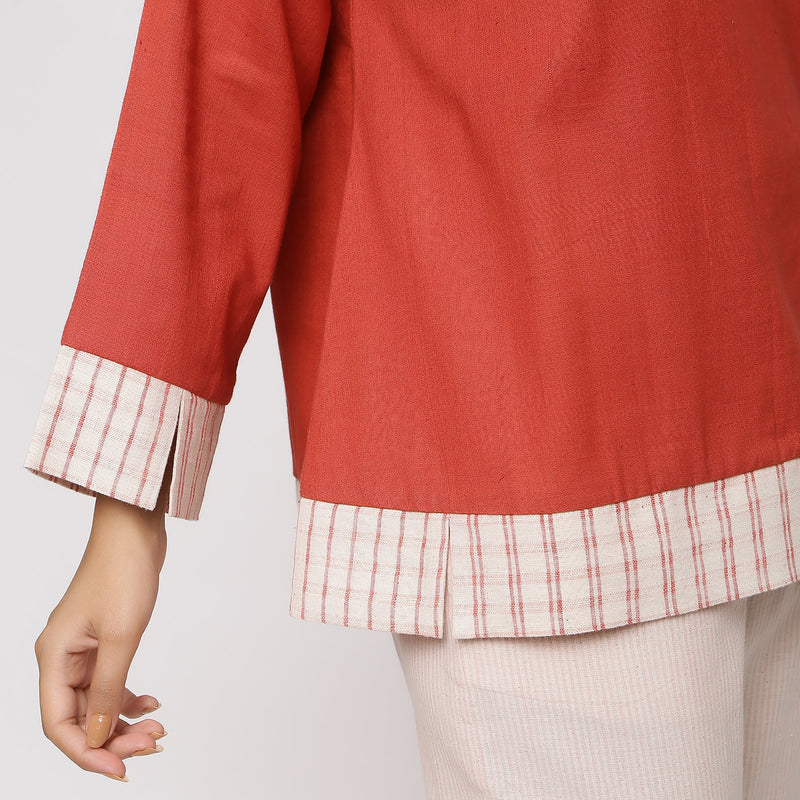 Close View of a Model wearing Brick Red A-Line Shirt and Striped Culottes Set
