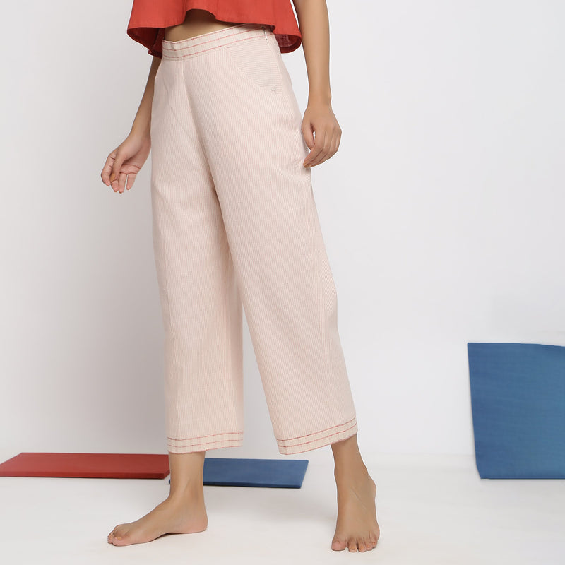 Left View of a Model wearing Vegetable Dyed Wide Legged Culottes