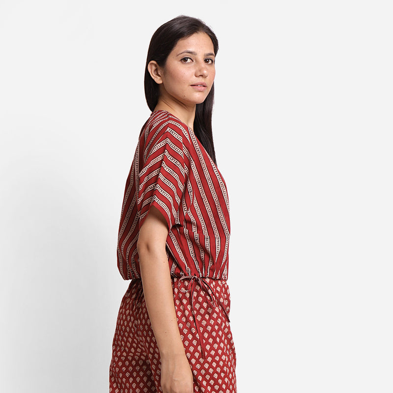 Right View of a Model wearing Block Printed Drop Shoulder Cotton Crop Top