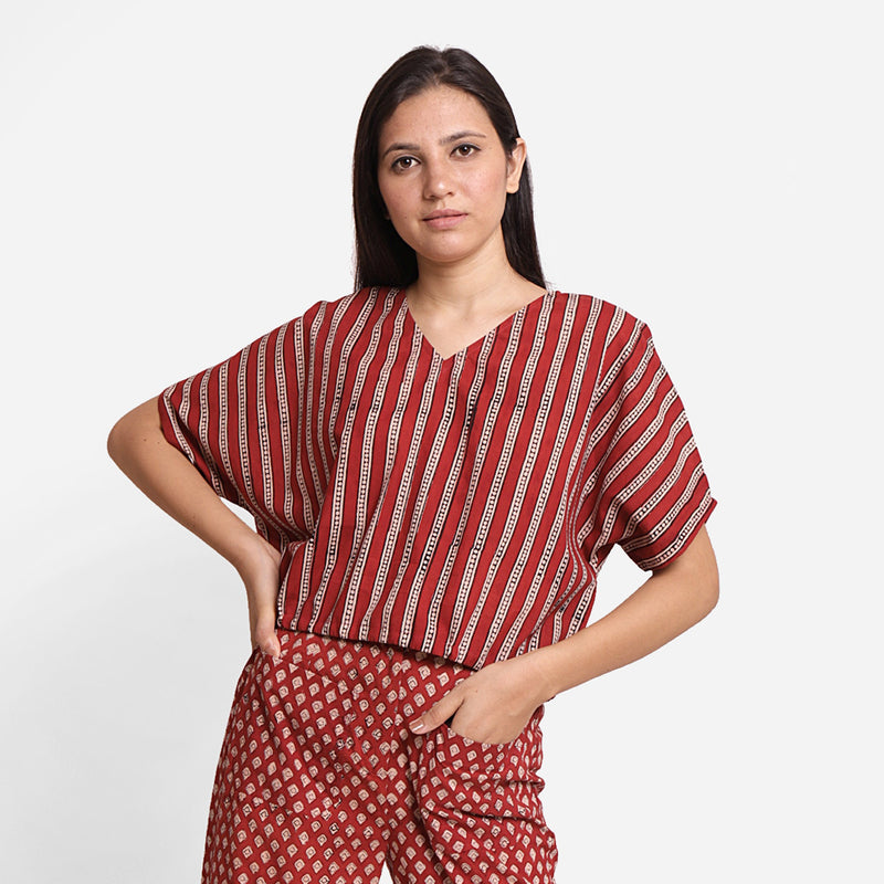 Front View of a Model wearing Block Printed Drop Shoulder Cotton Crop Top