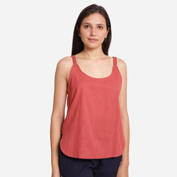 Front Detail of a Model wearing Brick Red Cotton Spaghetti Strap Top