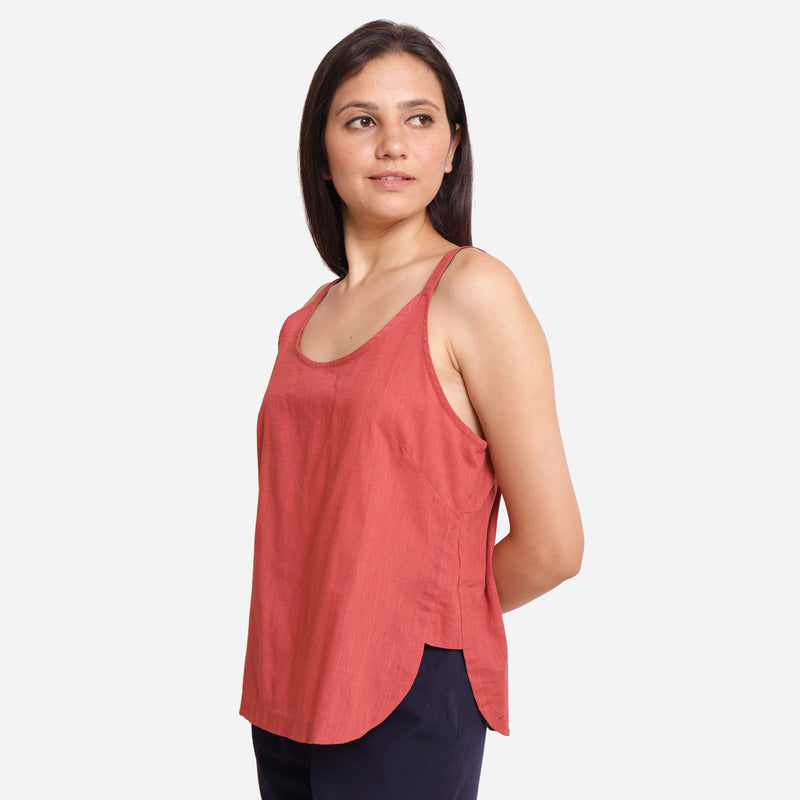 Left View of a Model wearing Brick Red Cotton Spaghetti Strap Top