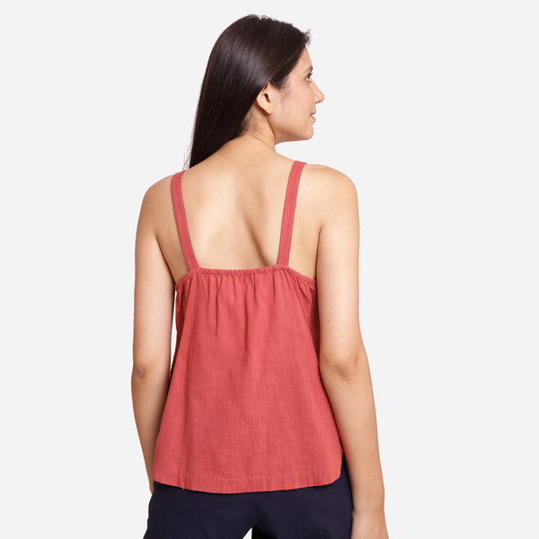 Back View of a Model wearing Brick Red Casual Spaghetti Top