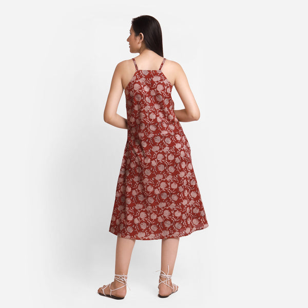 Back View of a Model wearing Bagru Block Print Camisole Dress