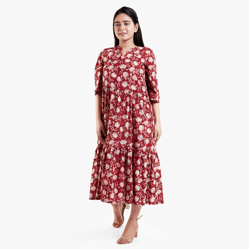 Front View of a Model wearing Bagru Block Print Tier Cotton Dress