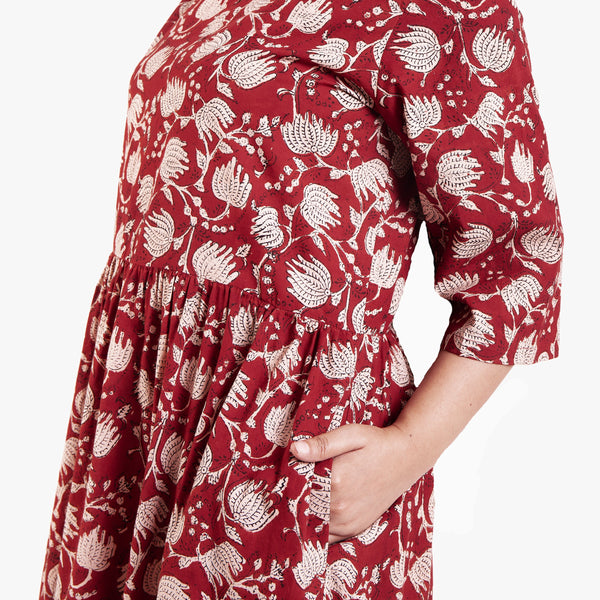 Front Detail of a Model wearing Bagru Block Print Tier Cotton Dress