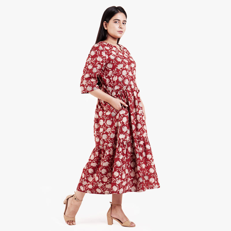 Right View of a Model wearing Bagru Block Print Tier Cotton Dress